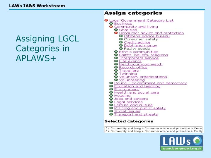 Assigning LGCL Categories in APLAWS+