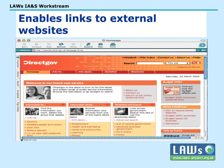 Enables links to external websites