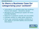 is there a business case for categorising your content