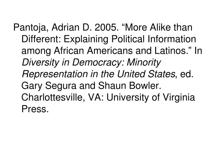 "Pantoja, Adrian D. 2005. ""More Alike than Different: Explaining Political Information among African Americans and Latinos."" In"