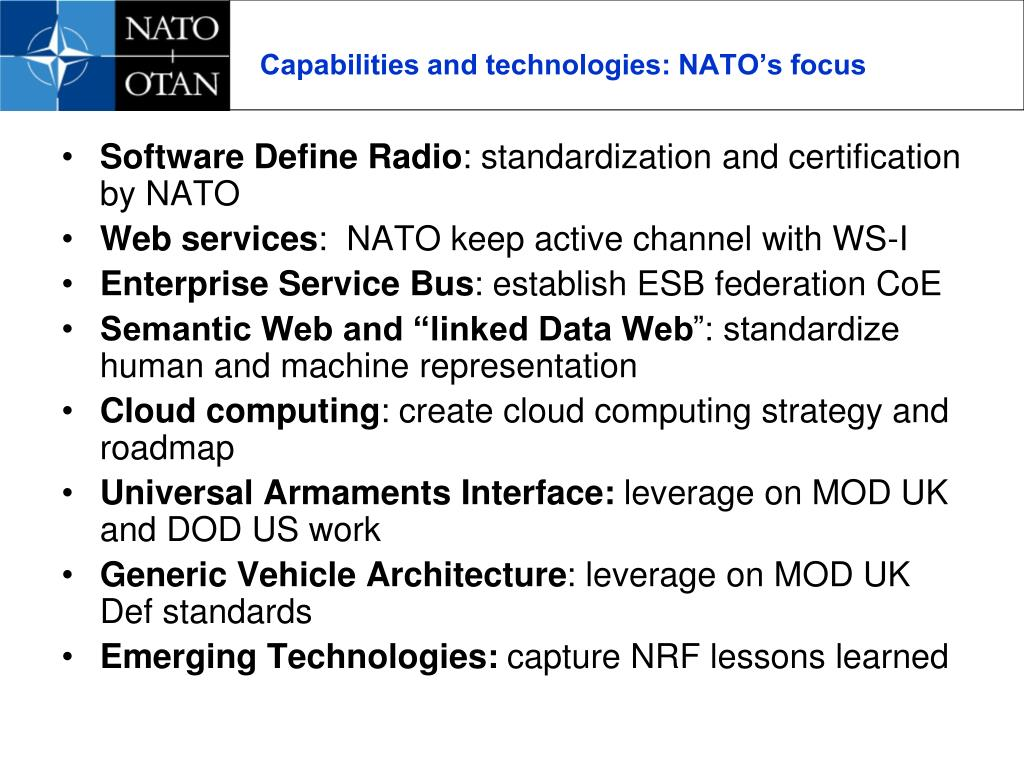 Capabilities and technologies: NATO's focus