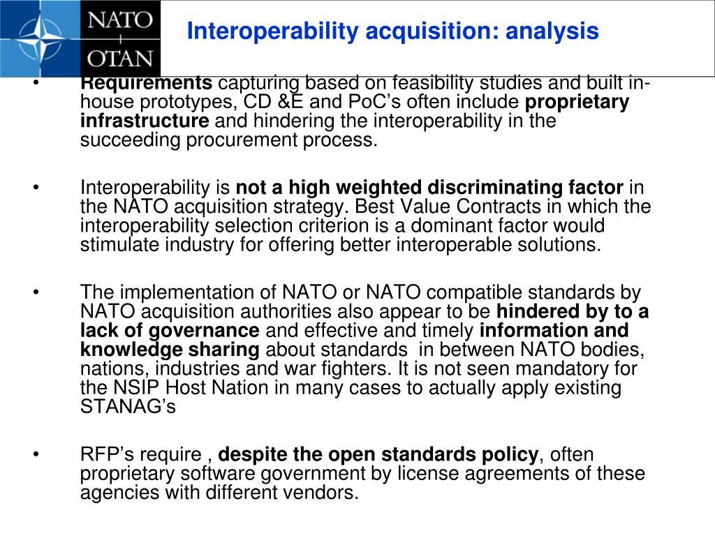 Interoperability acquisition: analysis