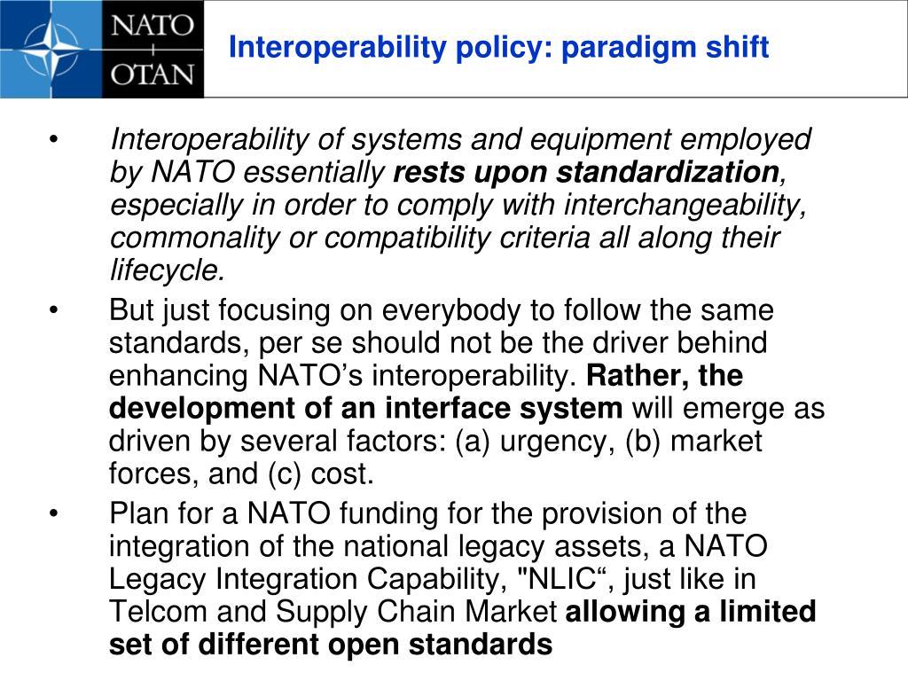 Interoperability policy: paradigm shift