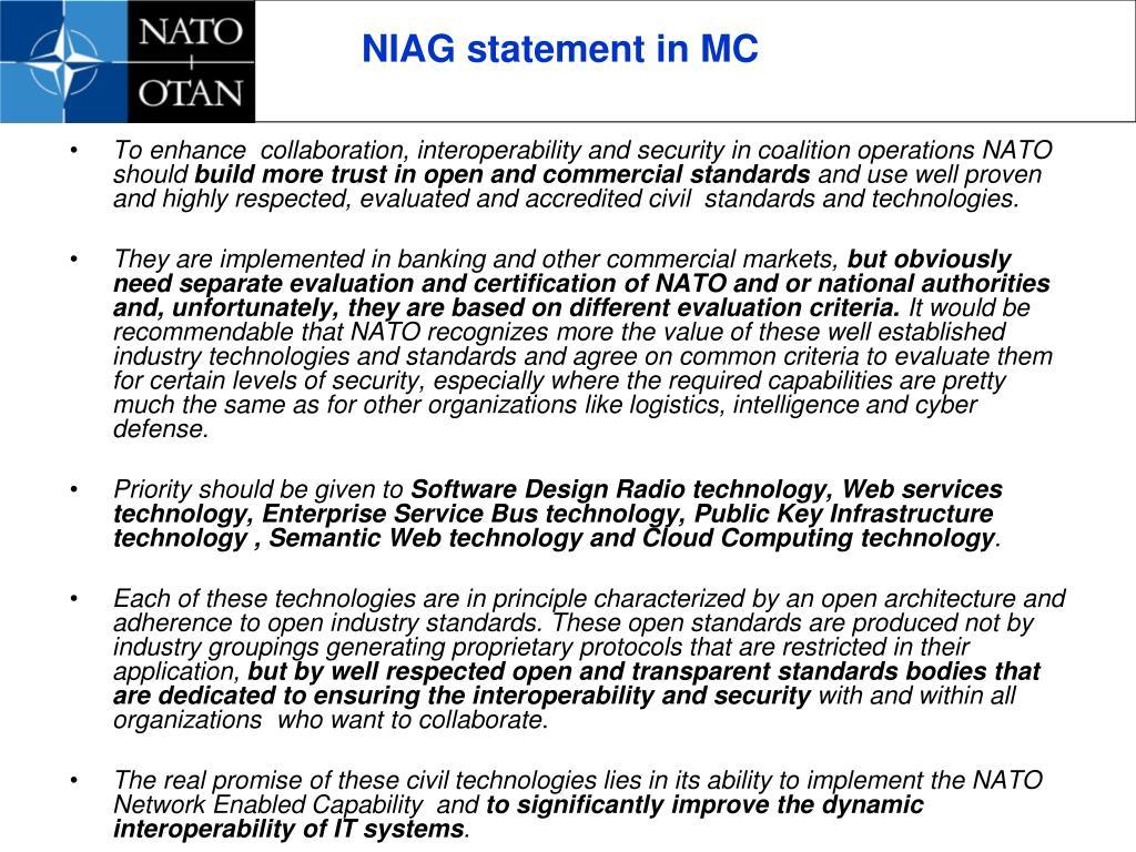 NIAG statement in MC