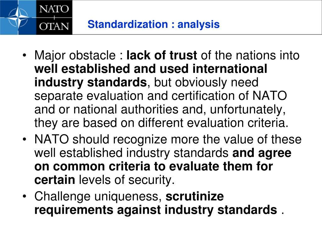 Standardization : analysis