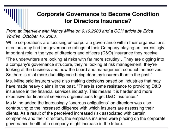 Corporate Governance to Become Condition for Directors Insurance?