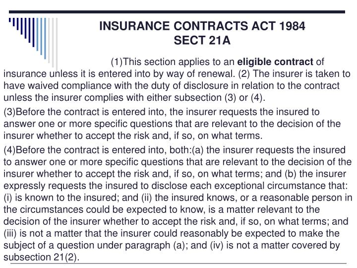 INSURANCE CONTRACTS ACT 1984