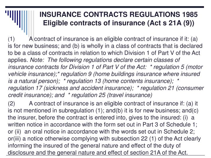 INSURANCE CONTRACTS REGULATIONS 1985