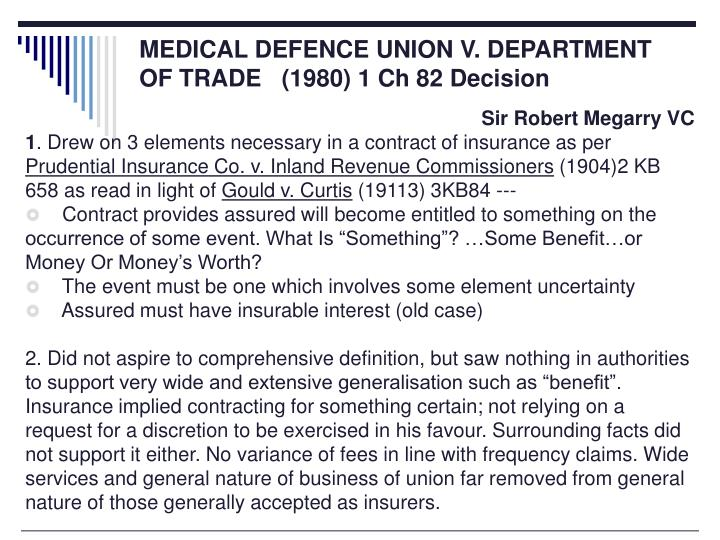 MEDICAL DEFENCE UNION V. DEPARTMENT OF TRADE   (1980) 1 Ch 82 Decision