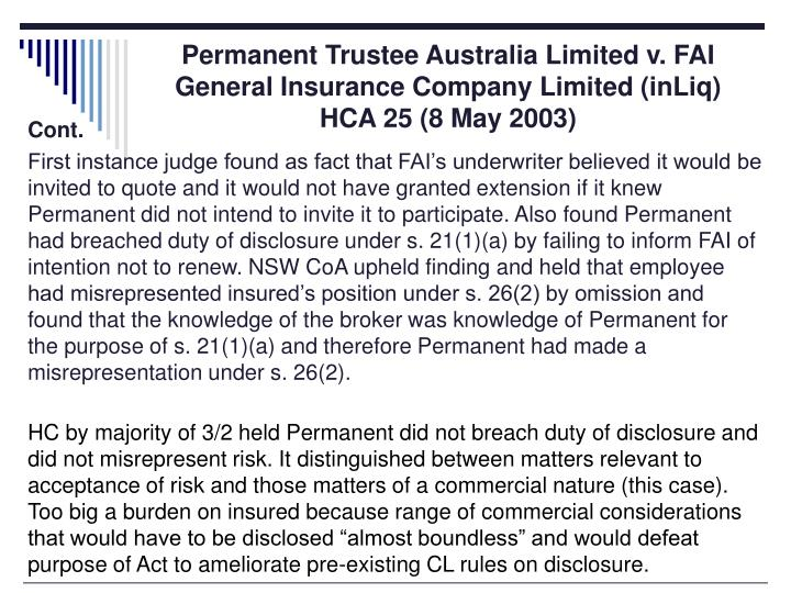 Permanent Trustee Australia Limited v. FAI General Insurance Company Limited (inLiq) HCA 25 (8 May 2003)
