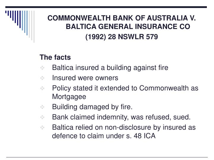 COMMONWEALTH BANK OF AUSTRALIA V. BALTICA GENERAL INSURANCE CO
