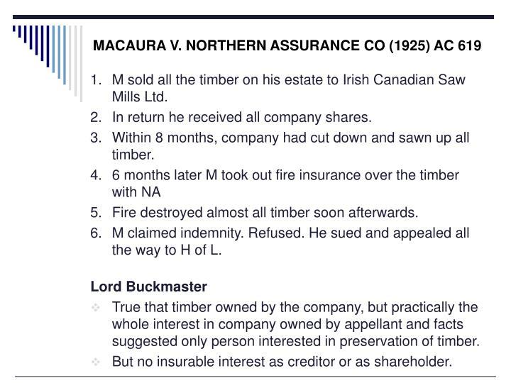 MACAURA V. NORTHERN ASSURANCE CO (1925) AC 619