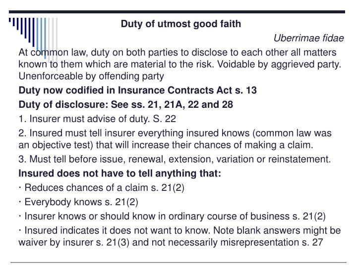 Duty of utmost good faith