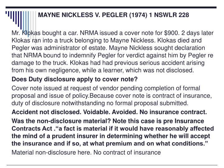MAYNE NICKLESS V. PEGLER (1974) 1 NSWLR 228