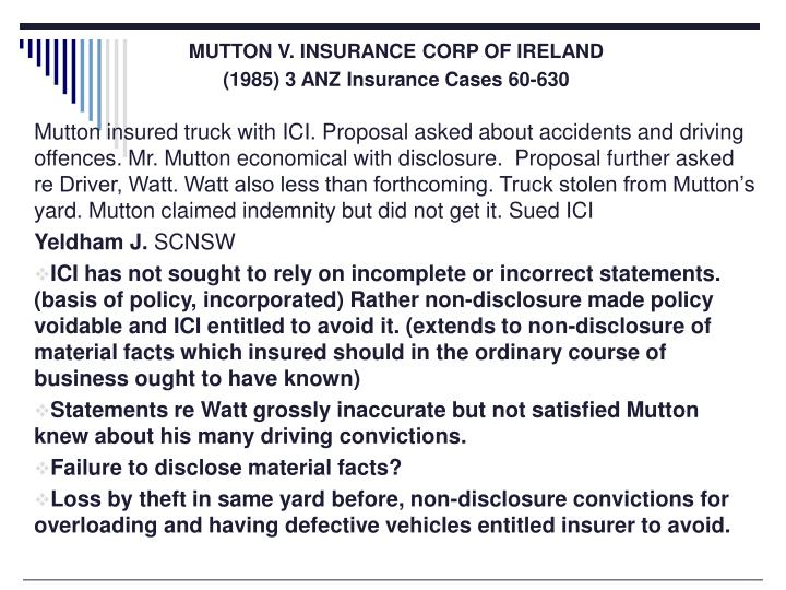 MUTTON V. INSURANCE CORP OF IRELAND