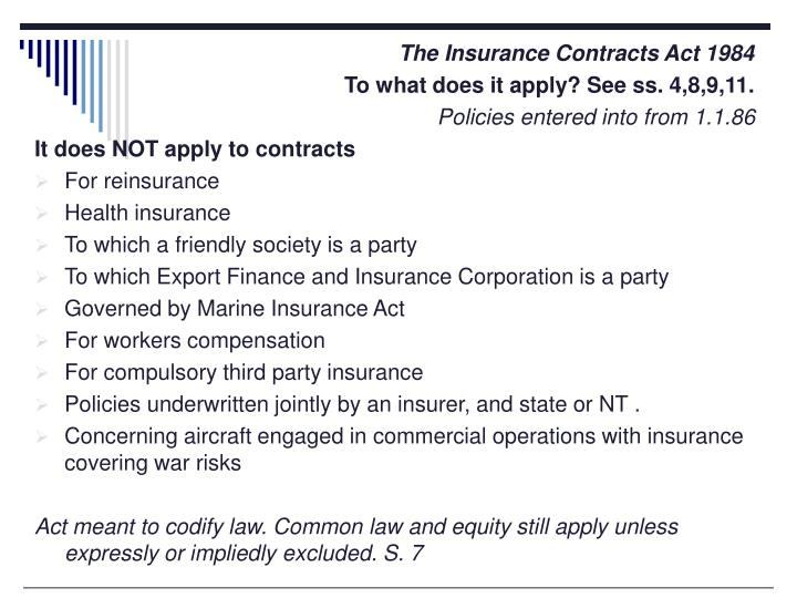 The Insurance Contracts Act 1984