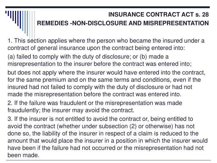 INSURANCE CONTRACT ACT s. 28