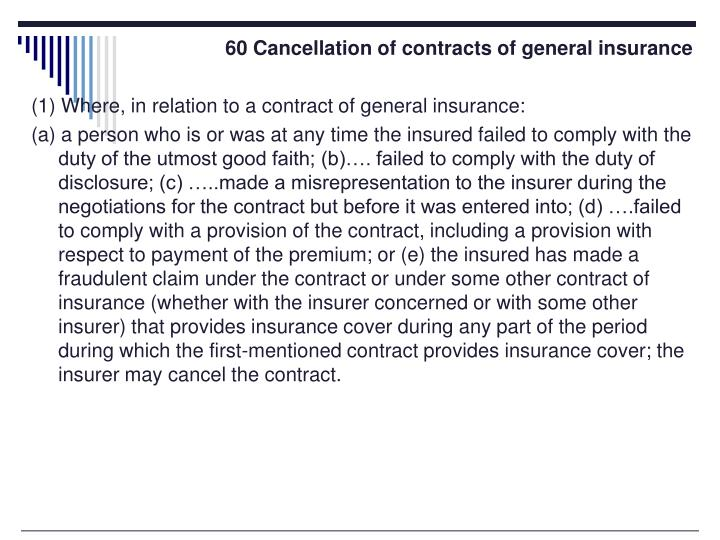 60 Cancellation of contracts of general insurance