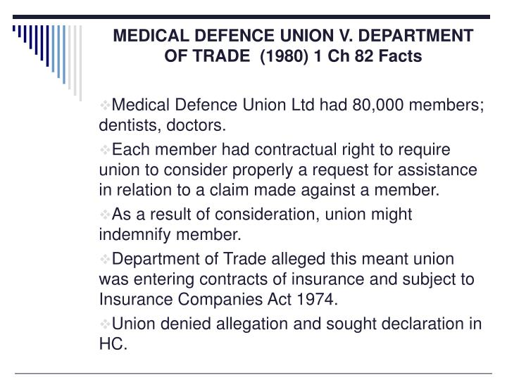 MEDICAL DEFENCE UNION V. DEPARTMENT OF TRADE  (1980) 1 Ch 82 Facts