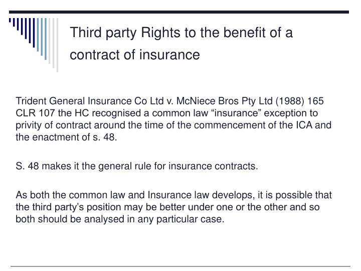Third party Rights to the benefit of a contract of insurance