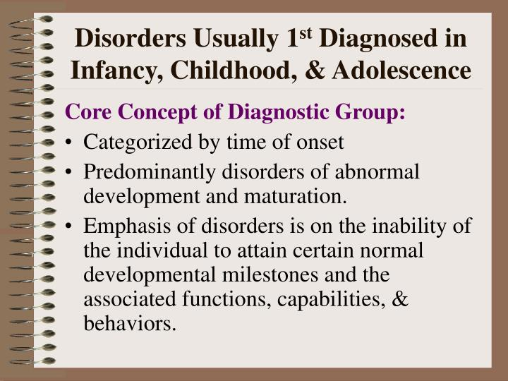 Disorders usually 1 st diagnosed in infancy childhood adolescence
