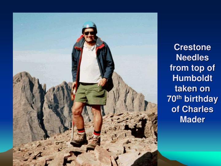 Crestone Needles from top of Humboldt taken on 70
