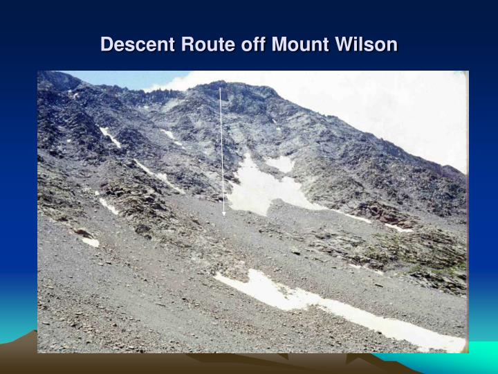Descent Route off Mount Wilson