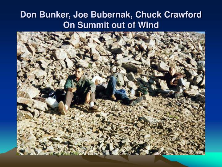 Don Bunker, Joe Bubernak, Chuck Crawford On Summit out of Wind