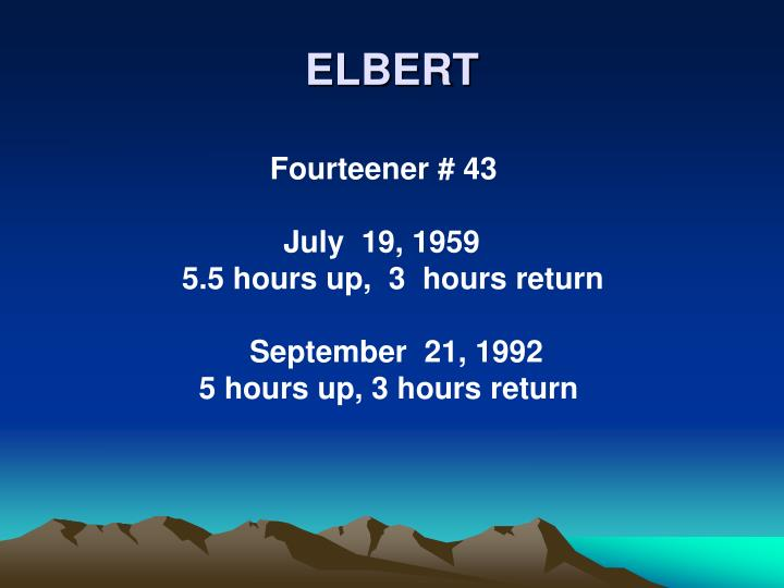 ELBERT