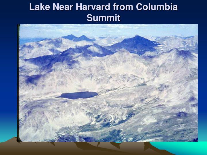 Lake Near Harvard from Columbia Summit