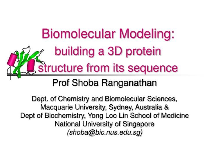 Biomolecular modeling building a 3d protein structure from its sequence