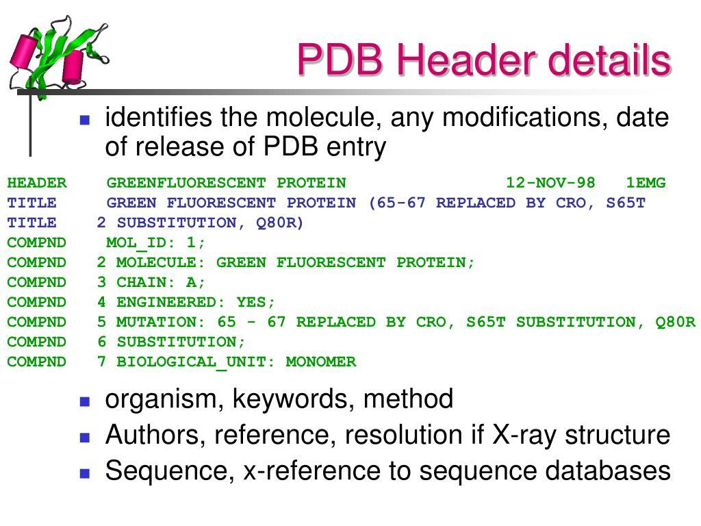 PDB Header details