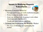issues in studying hispanic subcultures