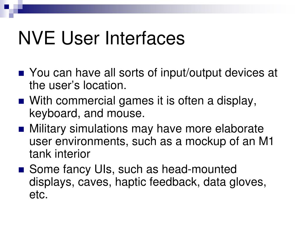 NVE User Interfaces