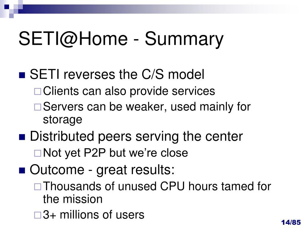 SETI@Home - Summary