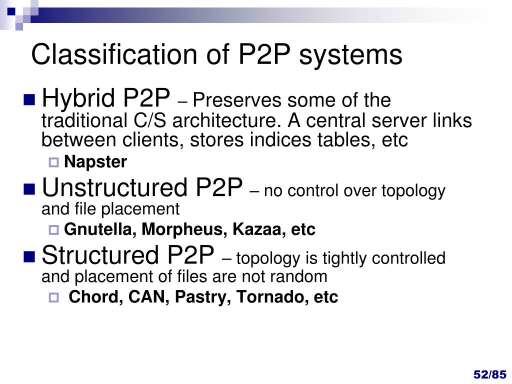 Classification of P2P systems