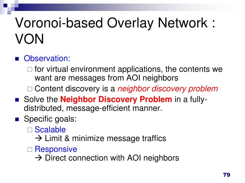 Voronoi-based Overlay Network : VON