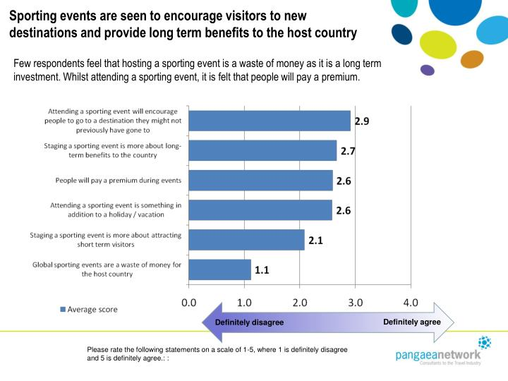 Sporting events are seen to encourage visitors to new destinations and provide long term benefits to the host country