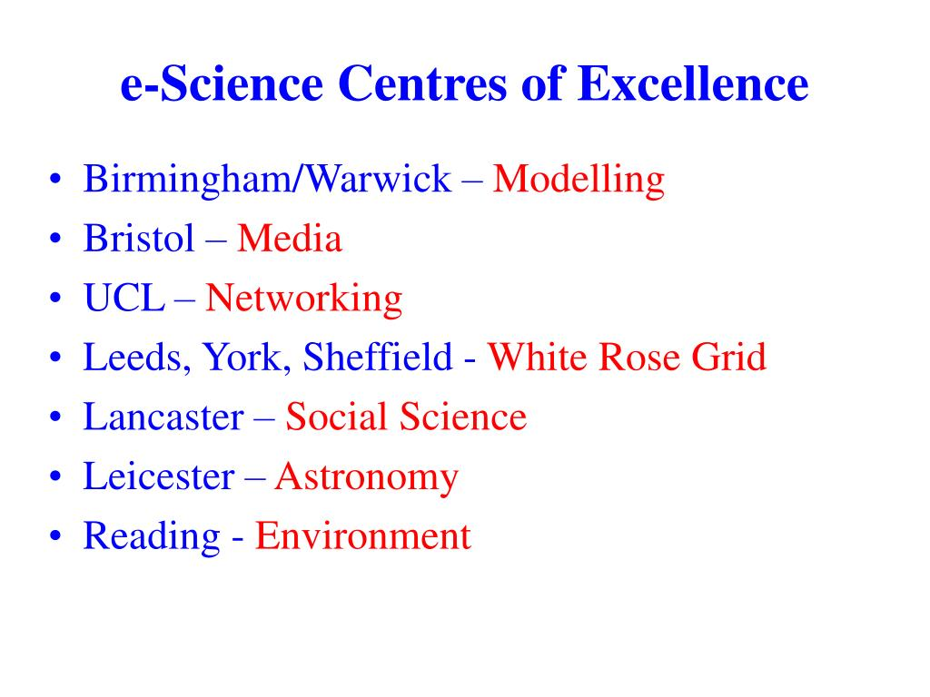 e-Science Centres of Excellence