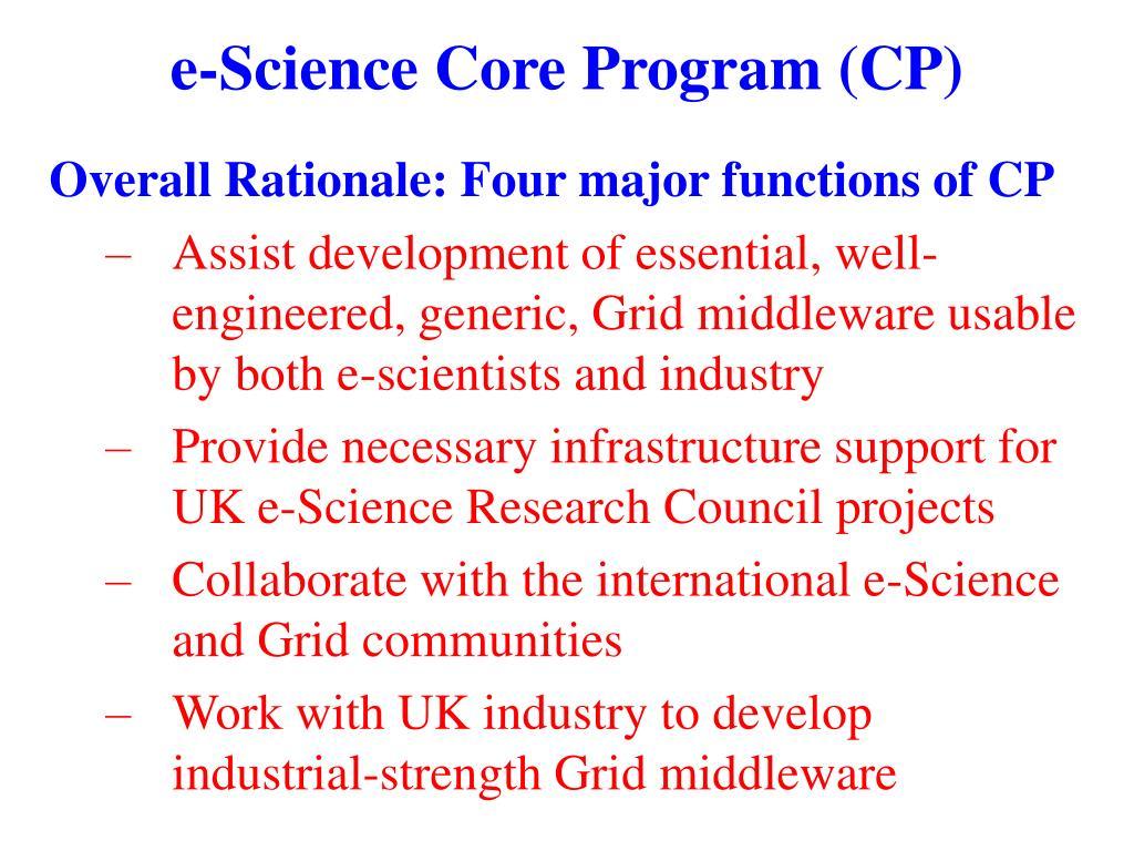 e-Science Core Program (CP)
