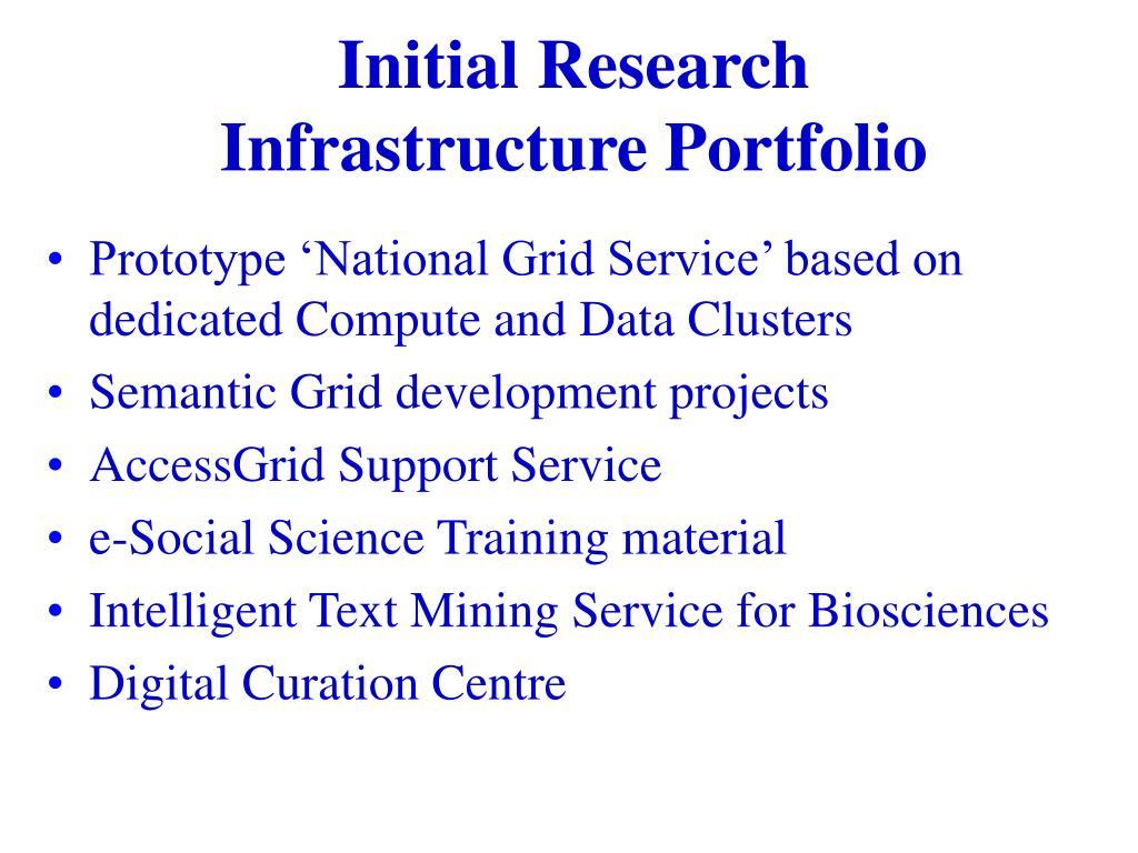 Initial Research Infrastructure Portfolio