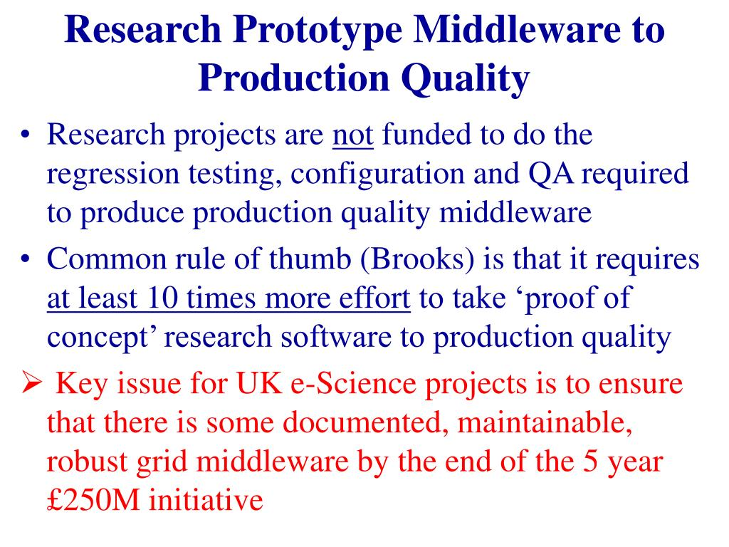 Research Prototype Middleware to Production Quality