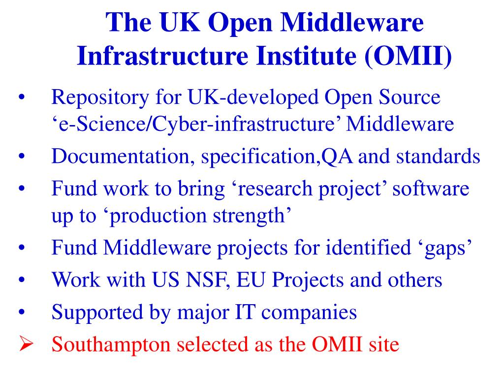 The UK Open Middleware Infrastructure Institute (OMII)