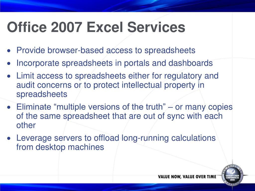 Office 2007 Excel Services