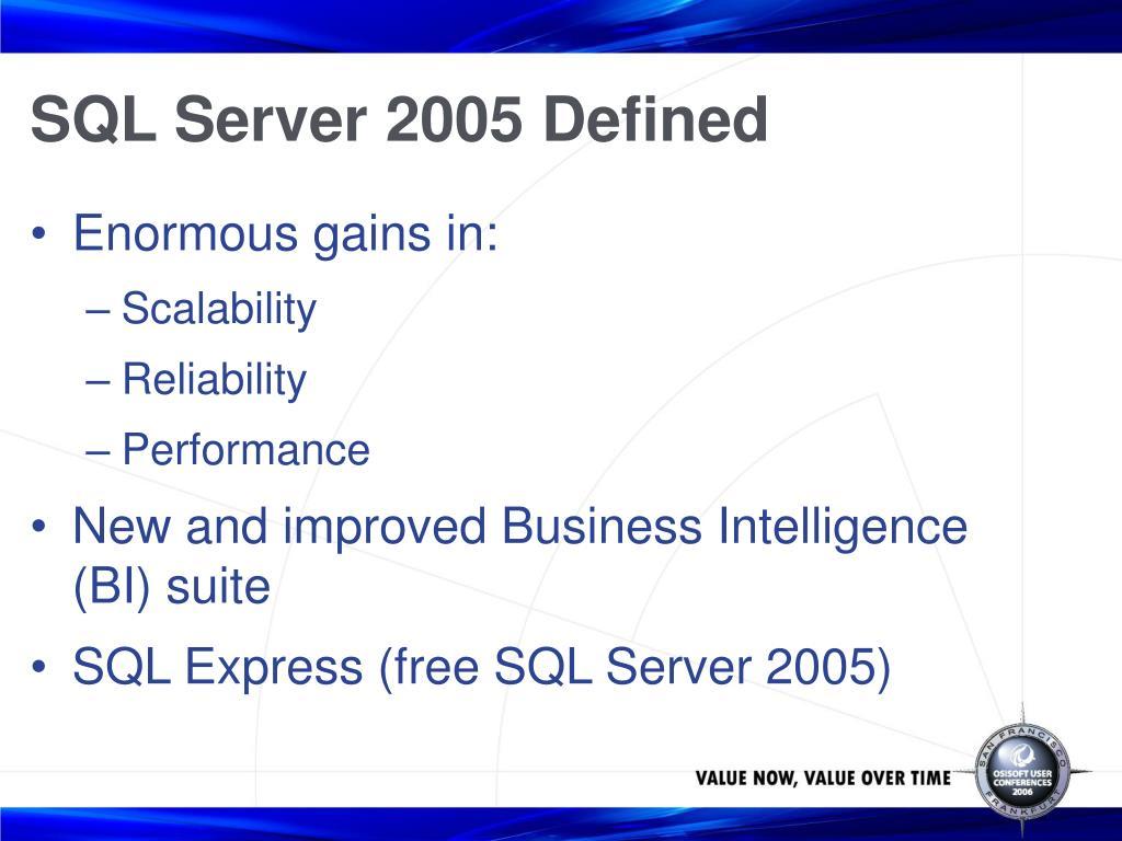 SQL Server 2005 Defined