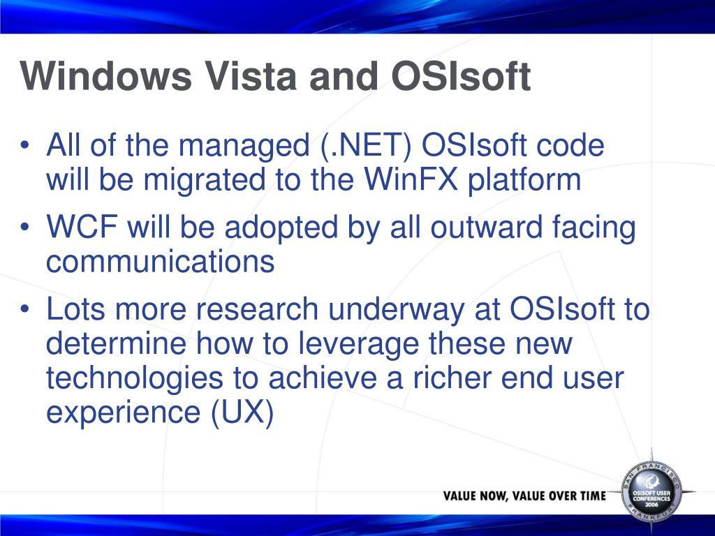 Windows Vista and OSIsoft
