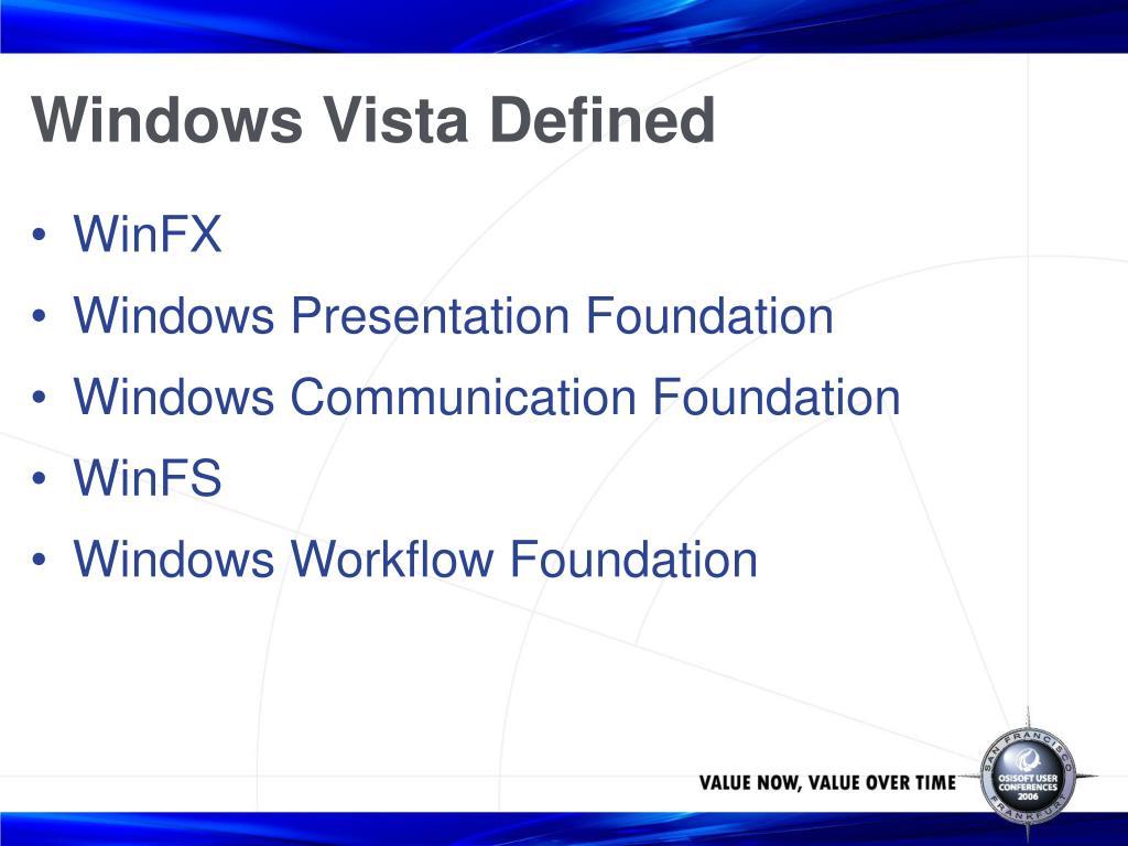 Windows Vista Defined
