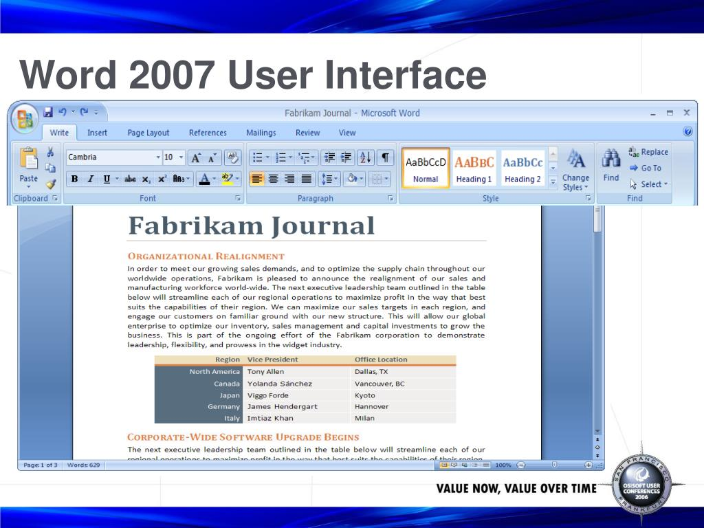 Word 2007 User Interface