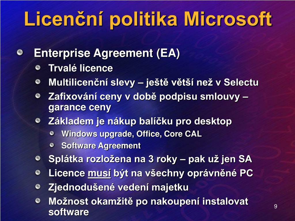 Licenční politika Microsoft