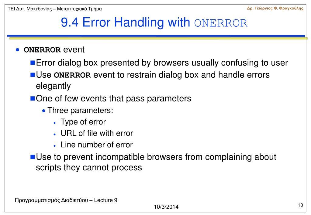 9.4 Error Handling with